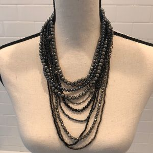 Multiple strand beaded necklace silver/ blue